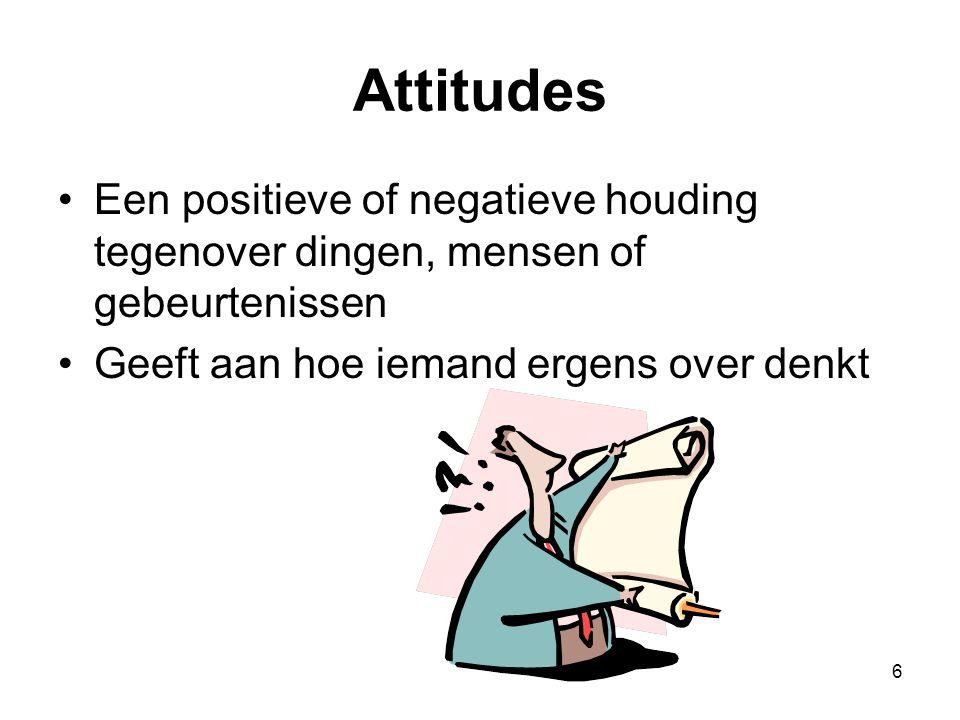 6 Attitudes Een positieve of negatieve houding tegenover dingen, mensen of gebeurtenissen Geeft aan hoe iemand ergens over denkt