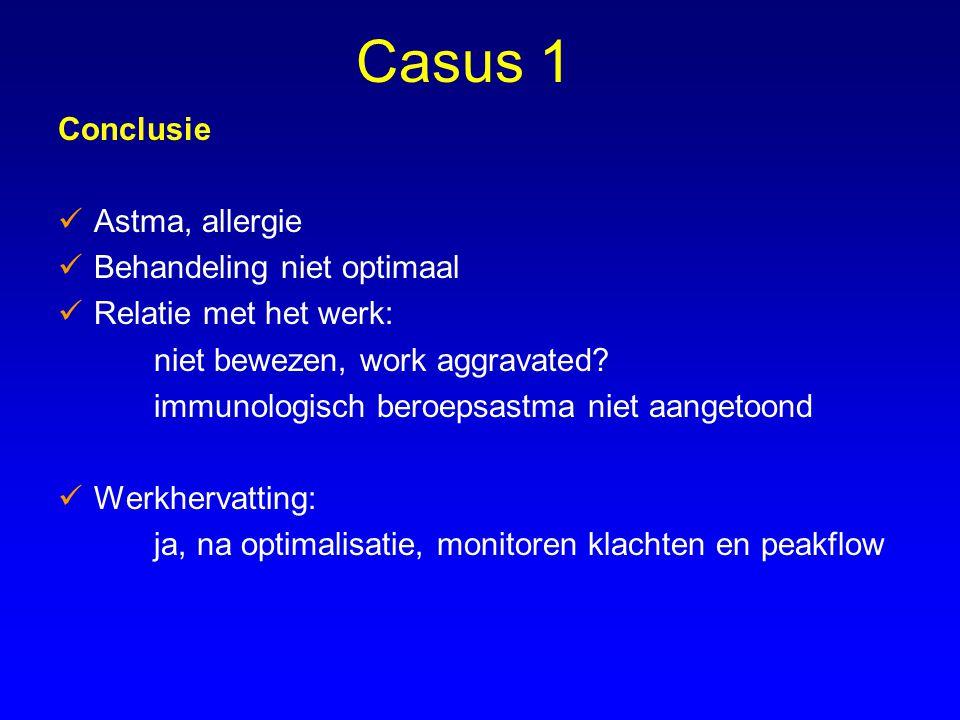 Casus 1 Conclusie Astma, allergie Behandeling niet optimaal Relatie met het werk: niet bewezen, work aggravated? immunologisch beroepsastma niet aange