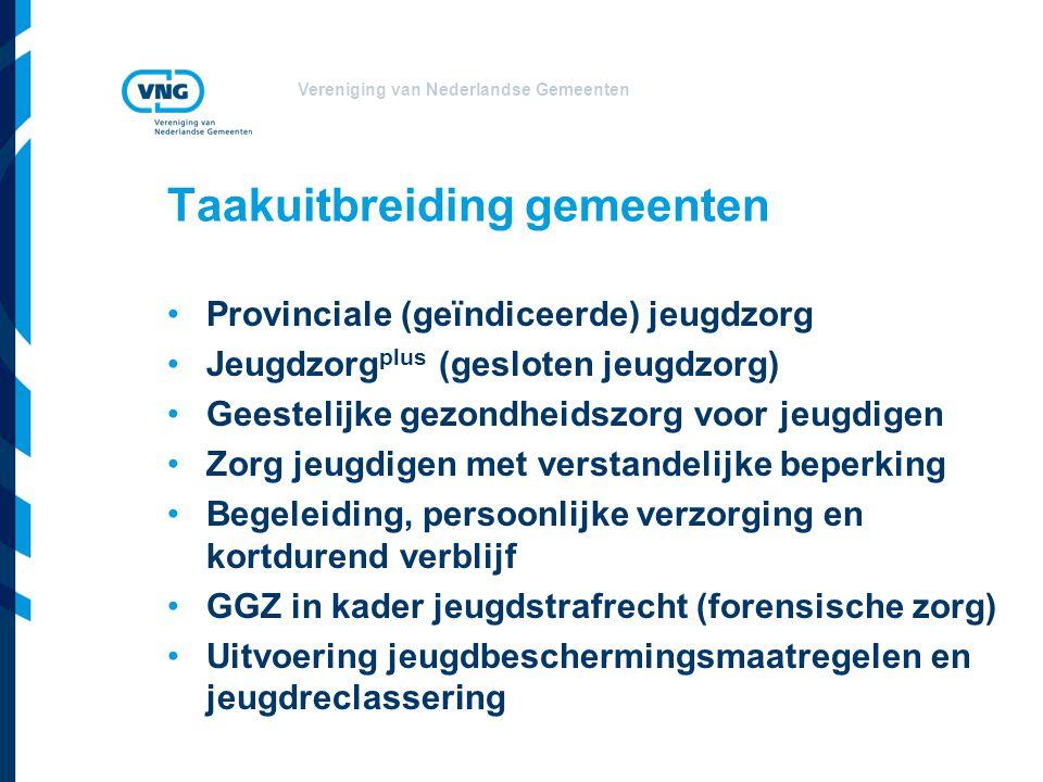 Vereniging van Nederlandse Gemeenten Taakuitbreiding gemeenten Provinciale (geïndiceerde) jeugdzorg Jeugdzorg plus (gesloten jeugdzorg) Geestelijke gezondheidszorg voor jeugdigen Zorg jeugdigen met verstandelijke beperking Begeleiding, persoonlijke verzorging en kortdurend verblijf GGZ in kader jeugdstrafrecht (forensische zorg) Uitvoering jeugdbeschermingsmaatregelen en jeugdreclassering