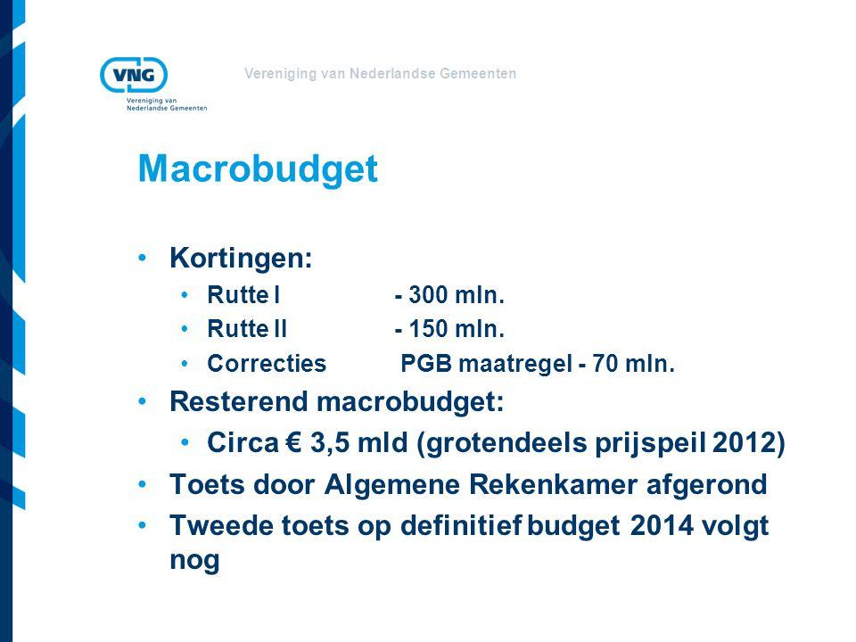 Vereniging van Nederlandse Gemeenten Macrobudget Kortingen: Rutte I- 300 mln.