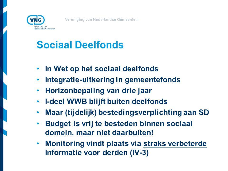 Vereniging van Nederlandse Gemeenten Sociaal Deelfonds In Wet op het sociaal deelfonds Integratie-uitkering in gemeentefonds Horizonbepaling van drie jaar I-deel WWB blijft buiten deelfonds Maar (tijdelijk) bestedingsverplichting aan SD Budget is vrij te besteden binnen sociaal domein, maar niet daarbuiten.