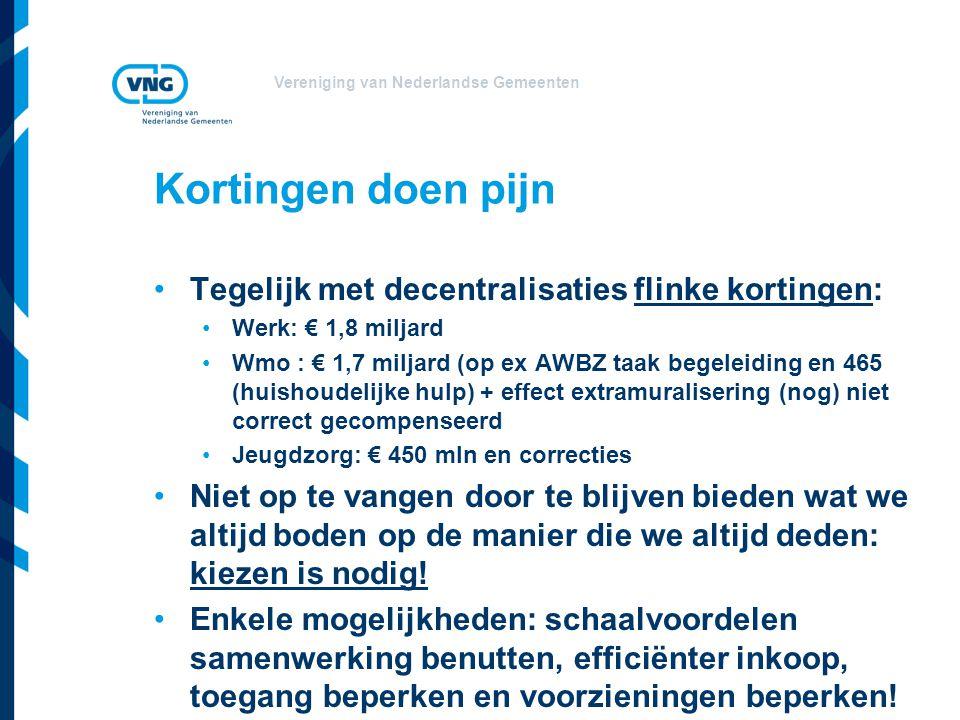 Vereniging van Nederlandse Gemeenten Kortingen doen pijn Tegelijk met decentralisaties flinke kortingen: Werk: € 1,8 miljard Wmo : € 1,7 miljard (op ex AWBZ taak begeleiding en 465 (huishoudelijke hulp) + effect extramuralisering (nog) niet correct gecompenseerd Jeugdzorg: € 450 mln en correcties Niet op te vangen door te blijven bieden wat we altijd boden op de manier die we altijd deden: kiezen is nodig.