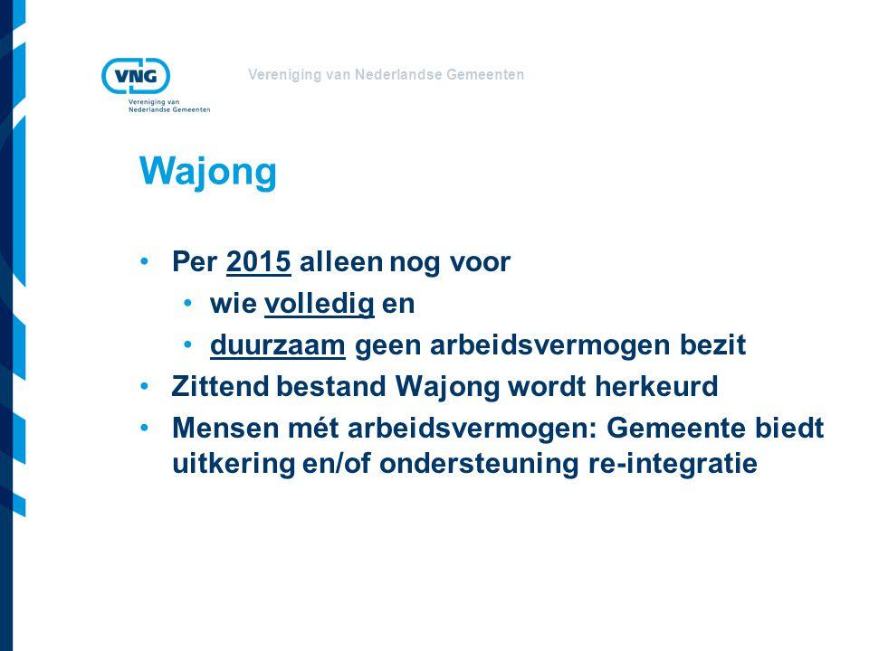 Vereniging van Nederlandse Gemeenten Wajong Per 2015 alleen nog voor wie volledig en duurzaam geen arbeidsvermogen bezit Zittend bestand Wajong wordt herkeurd Mensen mét arbeidsvermogen: Gemeente biedt uitkering en/of ondersteuning re-integratie