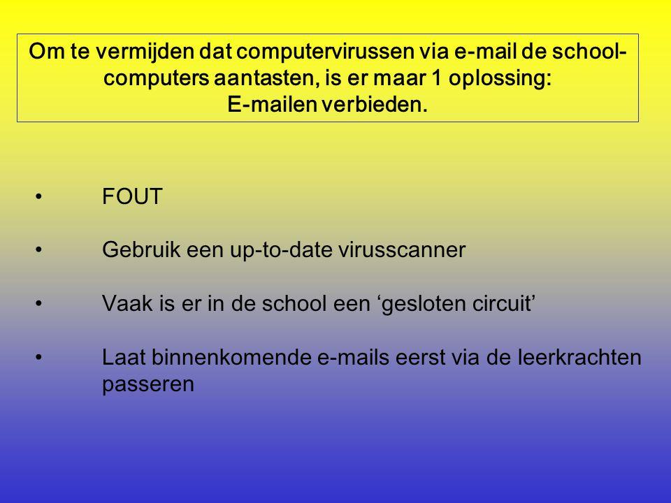 Om te vermijden dat computervirussen via e-mail de school- computers aantasten, is er maar 1 oplossing: E-mailen verbieden.