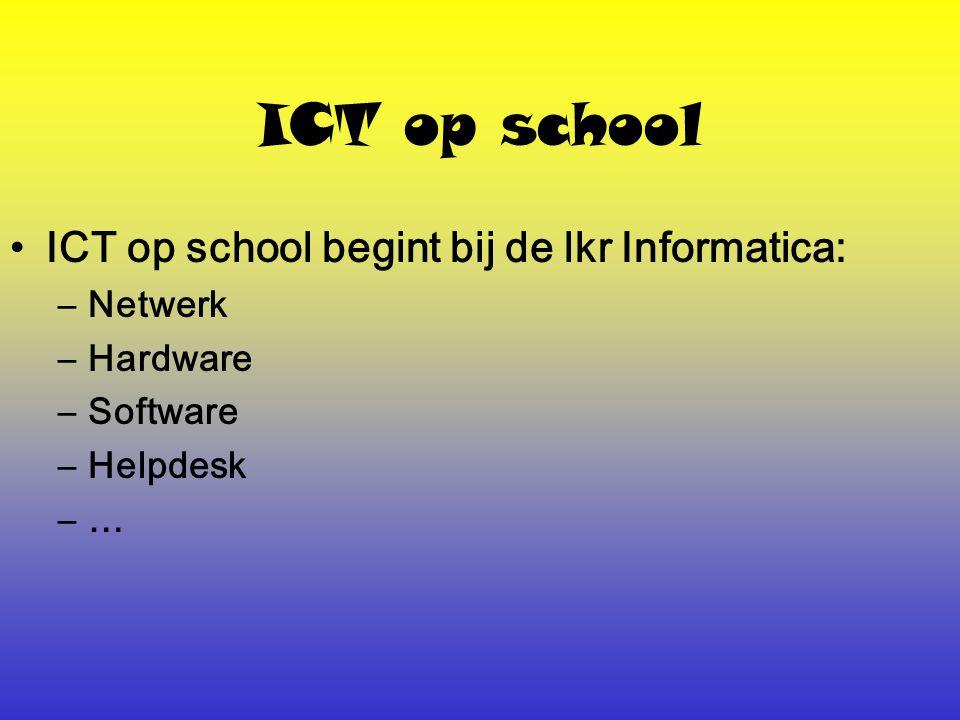 ICT op school Lkr Informatica heeft ook een opvoedende taak: –Leren omgaan met het internet 1.Wat is ethiek en wat zijn ethische problemen.