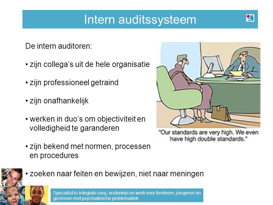 Intern auditssysteem De intern auditoren: zijn collega's uit de hele organisatie zijn professioneel getraind zijn onafhankelijk werken in duo's om obj