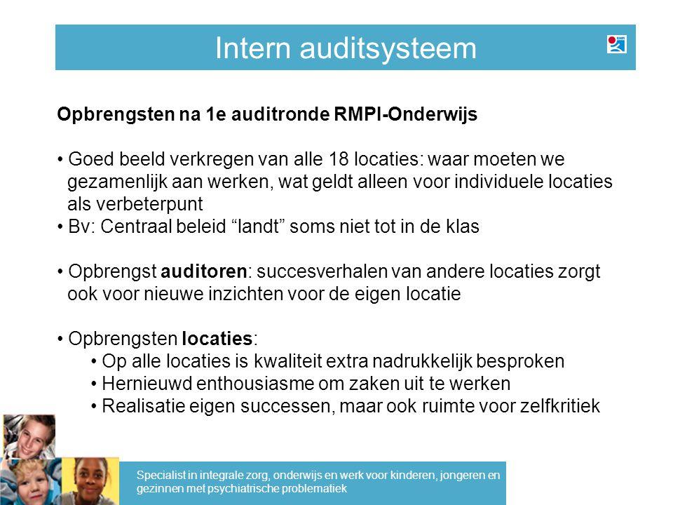 Intern auditsysteem Specialist in integrale zorg, onderwijs en werk voor kinderen, jongeren en gezinnen met psychiatrische problematiek Opbrengsten na