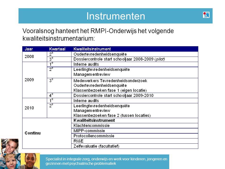 Instrumenten Specialist in integrale zorg, onderwijs en werk voor kinderen, jongeren en gezinnen met psychiatrische problematiek Vooralsnog hanteert het RMPI-Onderwijs het volgende kwaliteitsinstrumentarium: