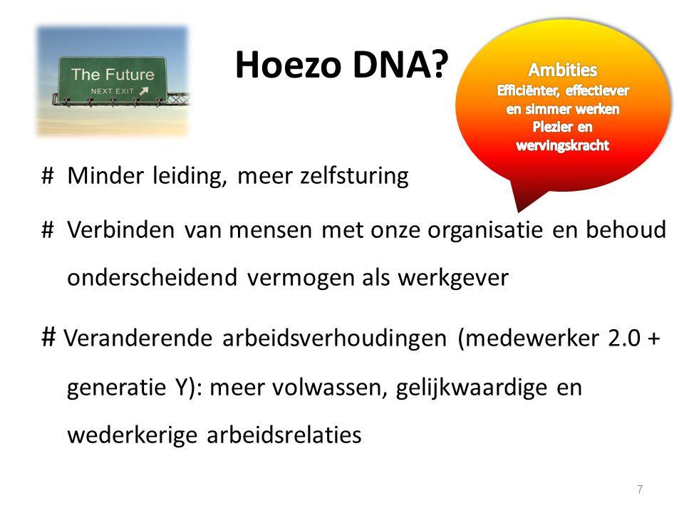 Hoezo DNA? #Minder leiding, meer zelfsturing #Verbinden van mensen met onze organisatie en behoud onderscheidend vermogen als werkgever # Veranderende