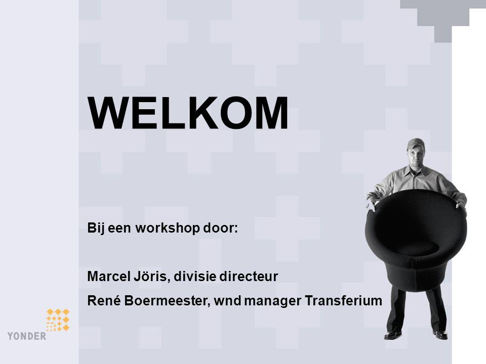 WELKOM Bij een workshop door: Marcel Jöris, divisie directeur René Boermeester, wnd manager Transferium