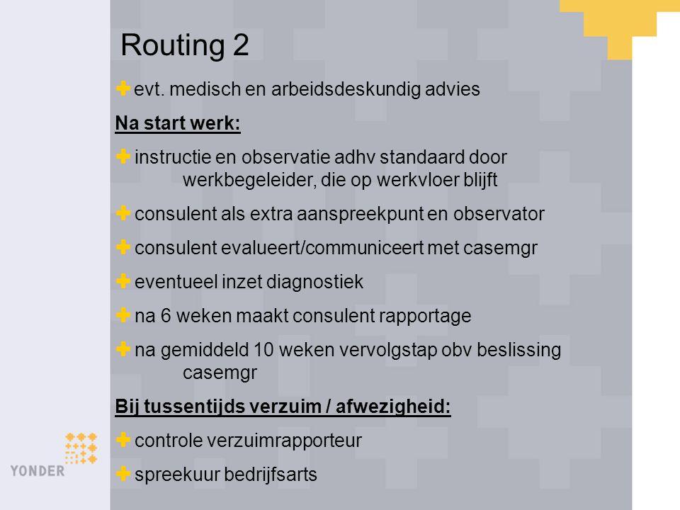 Routing 2  evt. medisch en arbeidsdeskundig advies Na start werk:  instructie en observatie adhv standaard door werkbegeleider, die op werkvloer bli