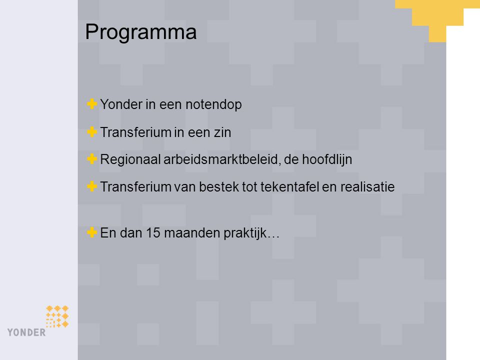 Yonder in een notendop Een van de 3 divisies van MTB Regio Maastricht NV Actief in:  Reïntegratie  Detacheringen vanuit WSW  Gesubsidieerde arbeid (Phoenix)  Leer-werk trajecten  Diagnostiek MTB Regio Maastricht NV YONDER Preventie & Reintegratie MTB Dienstverlening MTB Industrie