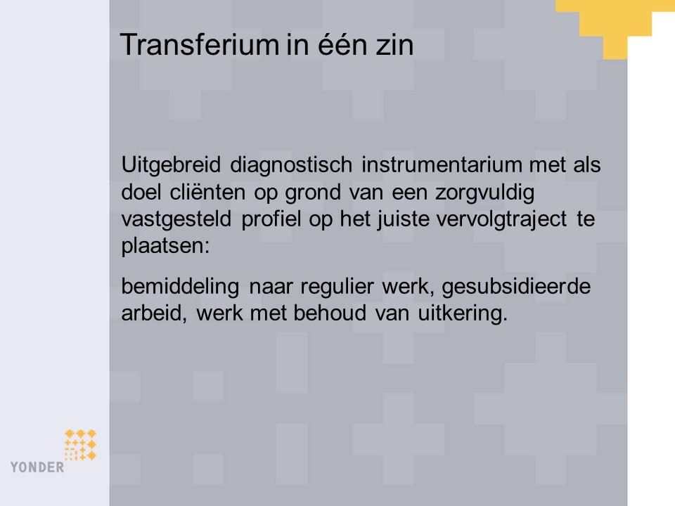 Transferium in één zin Uitgebreid diagnostisch instrumentarium met als doel cliënten op grond van een zorgvuldig vastgesteld profiel op het juiste ver