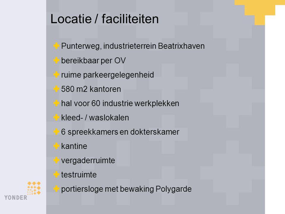 Locatie / faciliteiten  Punterweg, industrieterrein Beatrixhaven  bereikbaar per OV  ruime parkeergelegenheid  580 m2 kantoren  hal voor 60 indus