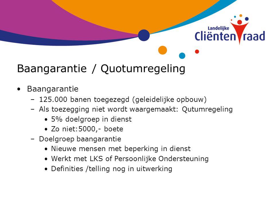 Baangarantie / Quotumregeling Baangarantie –125.000 banen toegezegd (geleidelijke opbouw) –Als toezegging niet wordt waargemaakt: Qutumregeling 5% doe