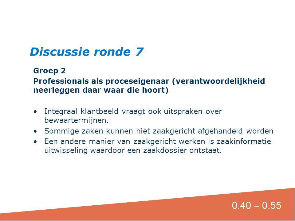 Groep 2 Professionals als proceseigenaar (verantwoordelijkheid neerleggen daar waar die hoort) Integraal klantbeeld vraagt ook uitspraken over bewaartermijnen.
