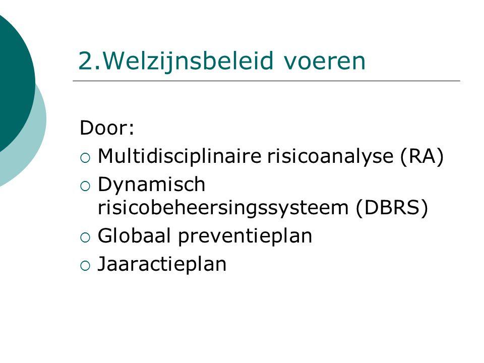 2.Welzijnsbeleid voeren Door:  Multidisciplinaire risicoanalyse (RA)  Dynamisch risicobeheersingssysteem (DBRS)  Globaal preventieplan  Jaaractiep