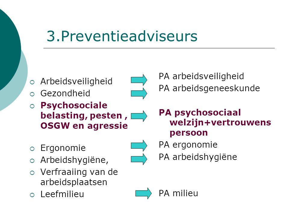 3.Preventieadviseurs  Arbeidsveiligheid  Gezondheid  Psychosociale belasting, pesten, OSGW en agressie  Ergonomie  Arbeidshygiëne,  Verfraaiing