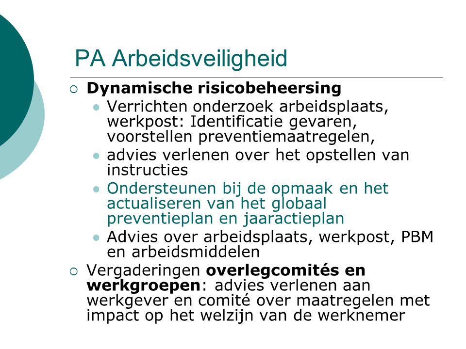 PA Arbeidsveiligheid  Dynamische risicobeheersing Verrichten onderzoek arbeidsplaats, werkpost: Identificatie gevaren, voorstellen preventiemaatregel