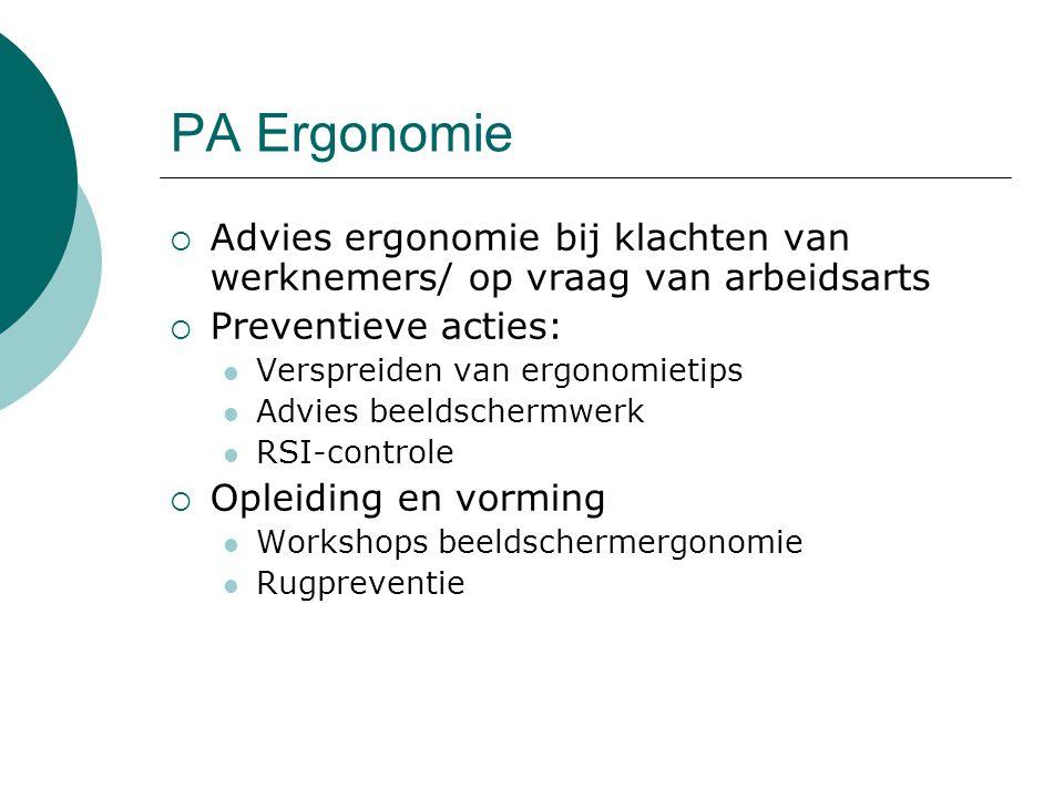 PA Ergonomie  Advies ergonomie bij klachten van werknemers/ op vraag van arbeidsarts  Preventieve acties: Verspreiden van ergonomietips Advies beeld