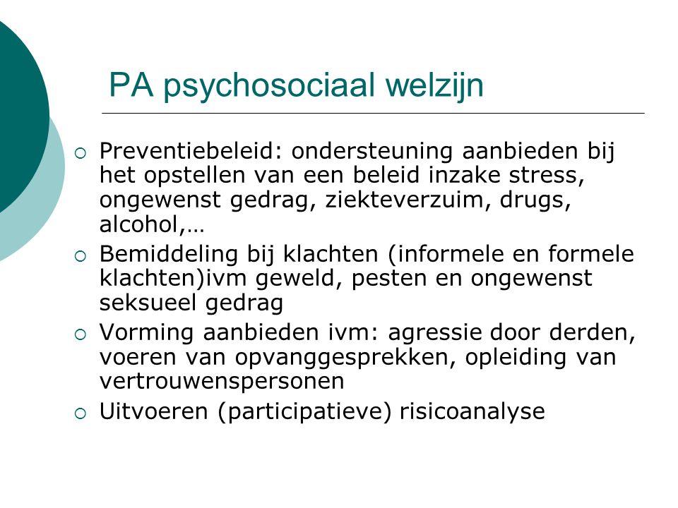 PA psychosociaal welzijn  Preventiebeleid: ondersteuning aanbieden bij het opstellen van een beleid inzake stress, ongewenst gedrag, ziekteverzuim, d