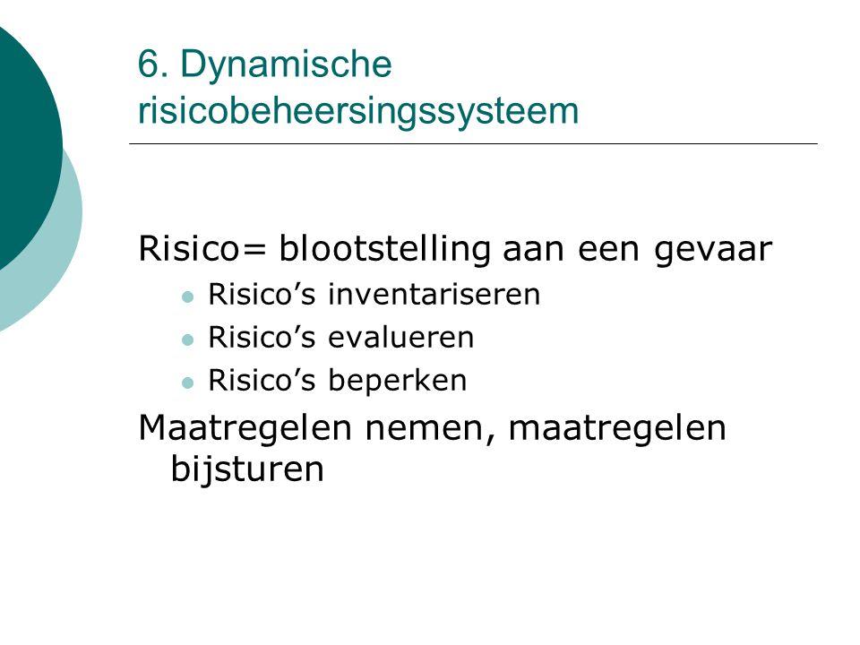 6. Dynamische risicobeheersingssysteem Risico= blootstelling aan een gevaar Risico's inventariseren Risico's evalueren Risico's beperken Maatregelen n