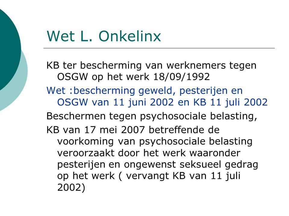 Wet L. Onkelinx KB ter bescherming van werknemers tegen OSGW op het werk 18/09/1992 Wet :bescherming geweld, pesterijen en OSGW van 11 juni 2002 en KB