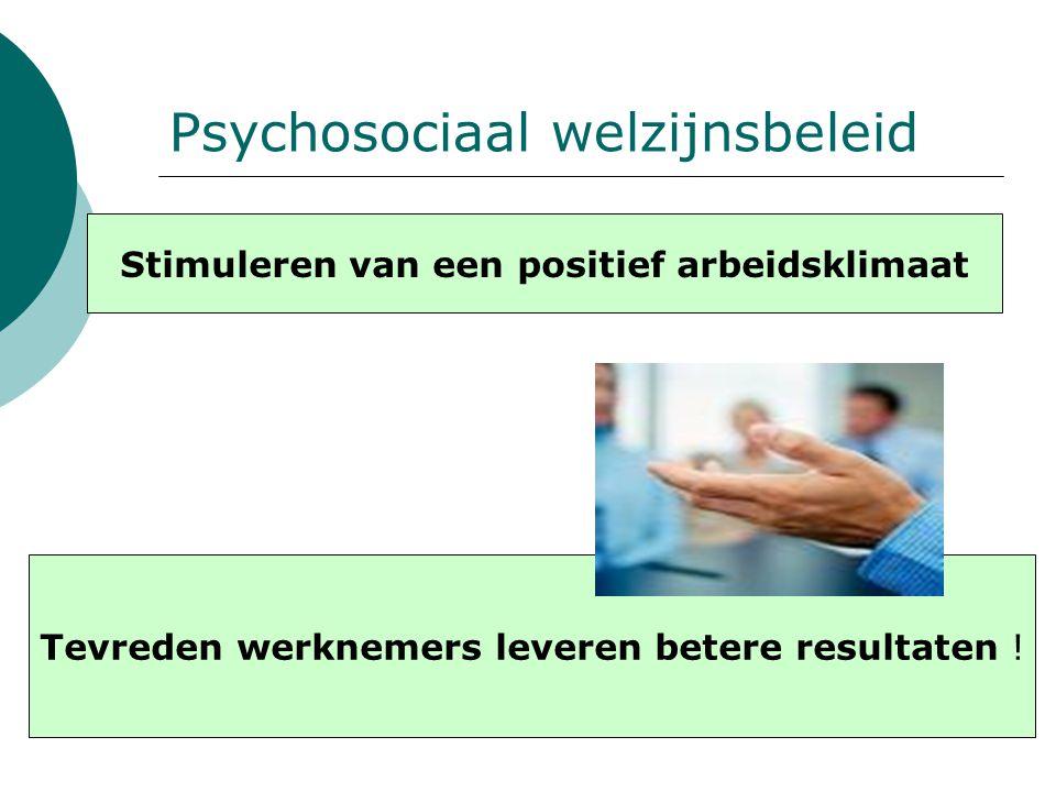 Psychosociaal welzijnsbeleid Stimuleren van een positief arbeidsklimaat Tevreden werknemers leveren betere resultaten !