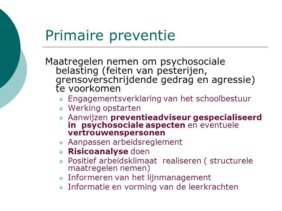 Primaire preventie Maatregelen nemen om psychosociale belasting (feiten van pesterijen, grensoverschrijdende gedrag en agressie) te voorkomen Engageme