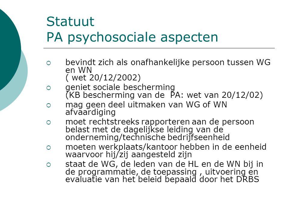 Statuut PA psychosociale aspecten  bevindt zich als onafhankelijke persoon tussen WG en WN ( wet 20/12/2002)  geniet sociale bescherming (KB bescher