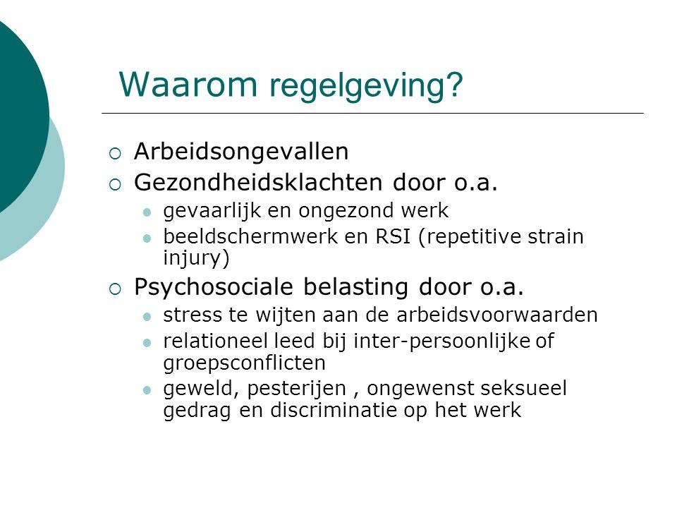 Waarom regelgeving?  Arbeidsongevallen  Gezondheidsklachten door o.a. gevaarlijk en ongezond werk beeldschermwerk en RSI (repetitive strain injury)