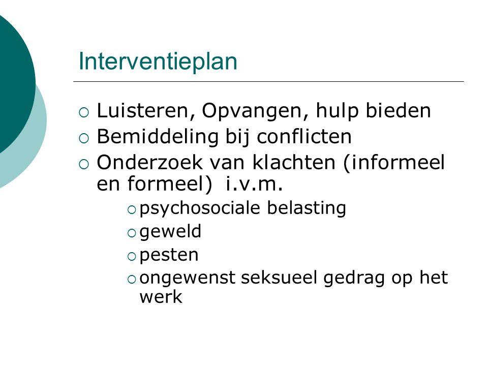 Interventieplan  Luisteren, Opvangen, hulp bieden  Bemiddeling bij conflicten  Onderzoek van klachten (informeel en formeel) i.v.m.  psychosociale