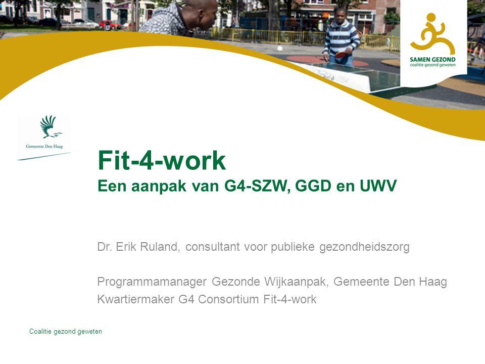 Coalitie gezond geweten Fit-4-work Een aanpak van G4-SZW, GGD en UWV Dr.