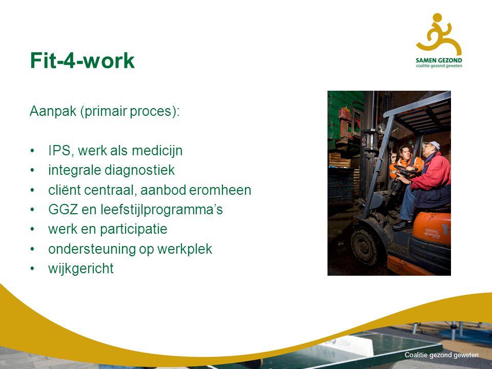 Coalitie gezond geweten Fit-4-work Aanpak (primair proces): IPS, werk als medicijn integrale diagnostiek cliënt centraal, aanbod eromheen GGZ en leefstijlprogramma's werk en participatie ondersteuning op werkplek wijkgericht