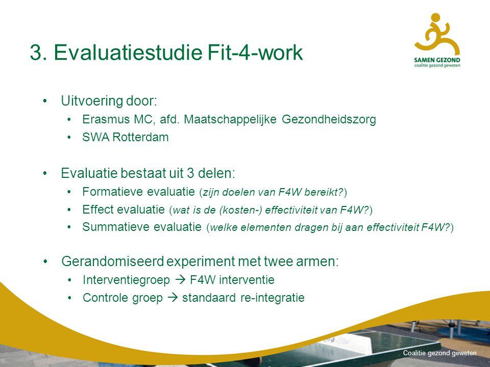 Coalitie gezond geweten 3.Evaluatiestudie Fit-4-work Uitvoering door: Erasmus MC, afd.