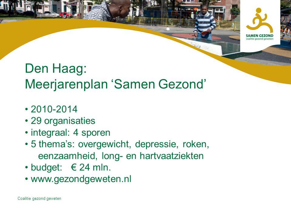 Coalitie gezond geweten Den Haag: Meerjarenplan 'Samen Gezond' 2010-2014 29 organisaties integraal: 4 sporen 5 thema's: overgewicht, depressie, roken, eenzaamheid, long- en hartvaatziekten budget: € 24 mln.