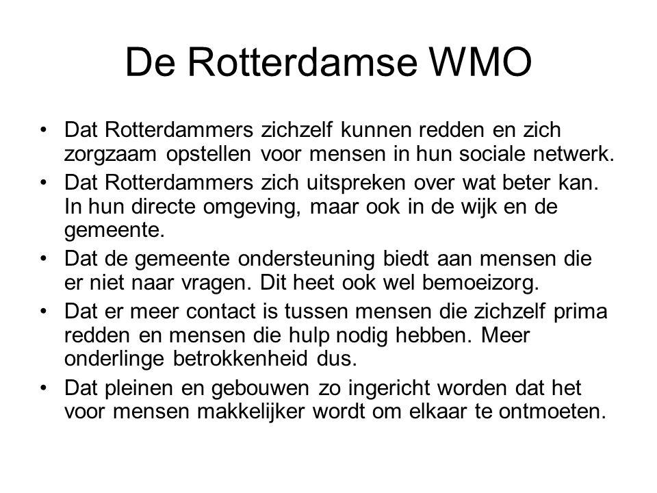 Ambitie; verhoging van de sociale kwaliteit Meer Rotterdammers die de Nederlandse taal beheersen Een hoger gemiddeld opleidingsniveau Meer Rotterdammers die maatschappelijk actief zijn Meer Rotterdammers met betaald werk Een hoger gemiddeld inkomen Centrale rol vormen WAPS (wijkactie plannen sociaal)