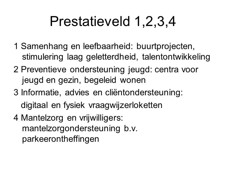 Prestatievelden 5,6,7,8,9 5 Bevorderen deelname maatschappelijk kwetsbare groepen, zorgarrangementen b.v.