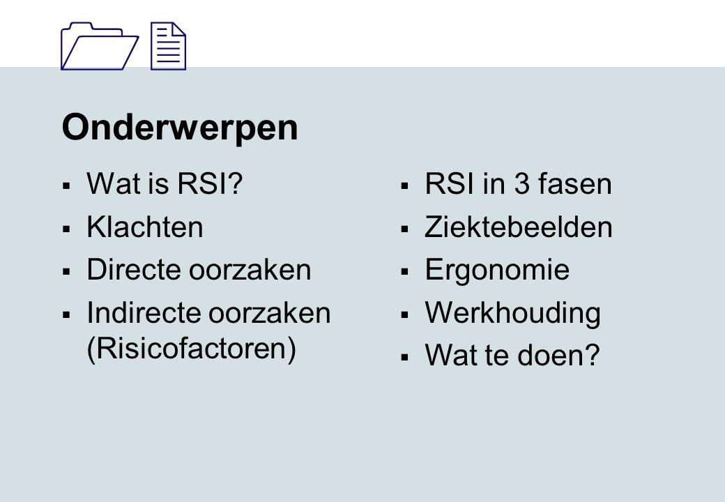 11 Onderwerpen  Wat is RSI.