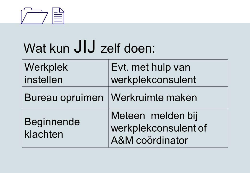11 Wat kun JIJ zelf doen: Werkplek instellen Evt.