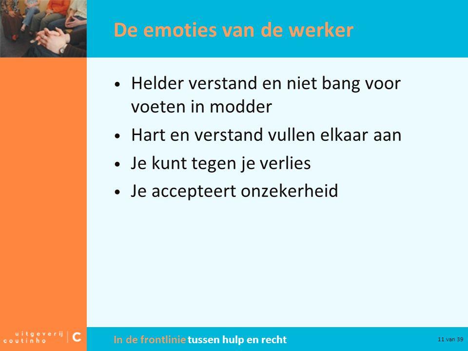 In de frontlinie tussen hulp en recht 11 van 39 De emoties van de werker Helder verstand en niet bang voor voeten in modder Hart en verstand vullen el