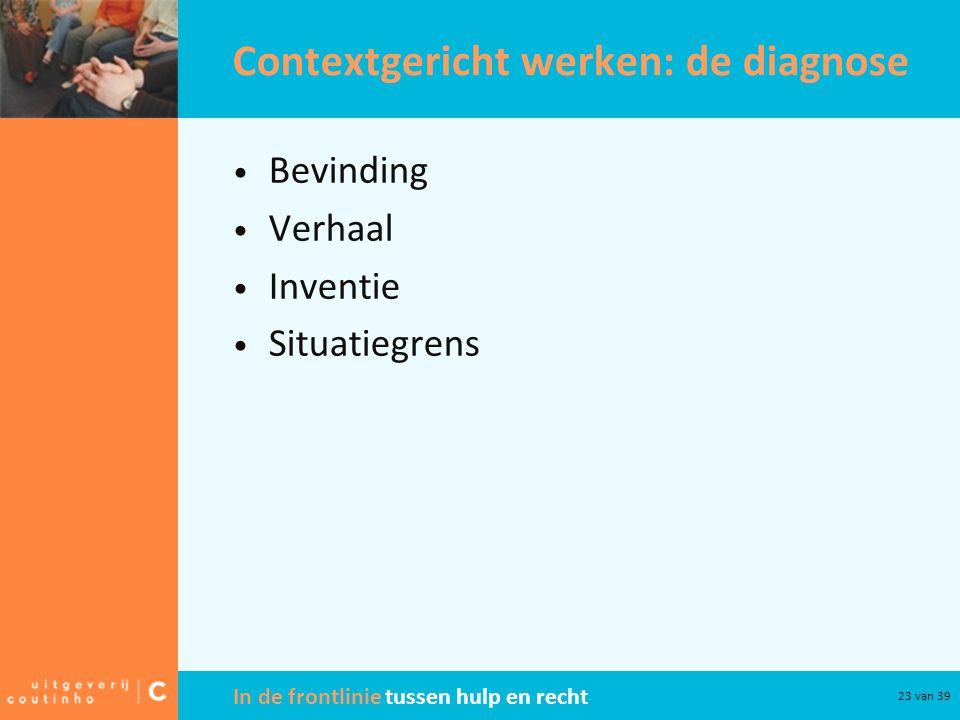 In de frontlinie tussen hulp en recht 23 van 39 Contextgericht werken: de diagnose Bevinding Verhaal Inventie Situatiegrens