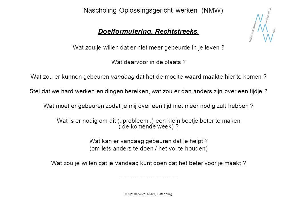 Nascholing Oplossingsgericht werken (NMW) Doelformulering, Rechtstreeks. Wat zou je willen dat er niet meer gebeurde in je leven ? Wat daarvoor in de