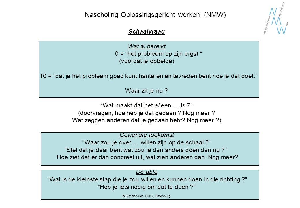 """Nascholing Oplossingsgericht werken (NMW) Schaalvraag Wat al bereikt 0 = """"het probleem op zijn ergst """" (voordat je opbelde) 10 = """"dat je het probleem"""