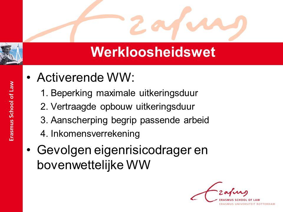 Werkloosheidswet Activerende WW: 1.Beperking maximale uitkeringsduur 2.