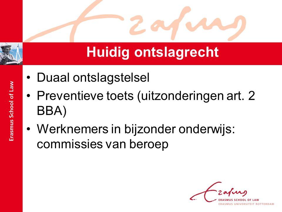 Huidig ontslagrecht Duaal ontslagstelsel Preventieve toets (uitzonderingen art.