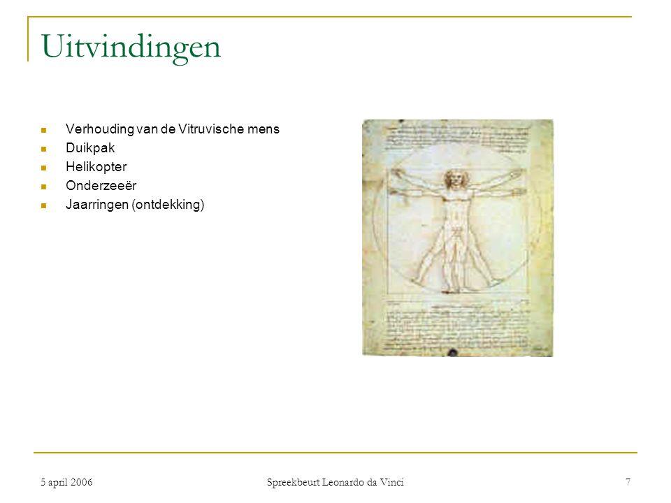 5 april 2006 Spreekbeurt Leonardo da Vinci 8 Samenvatting Geboren in Italië † in Frankrijk Mona Lisa Klein maar kostbaar Lijkt te leven Niet alleen schilder Duizenden schetsen van ontwerpen Weefmachines, parachutes en kanonnen 400 jaar later