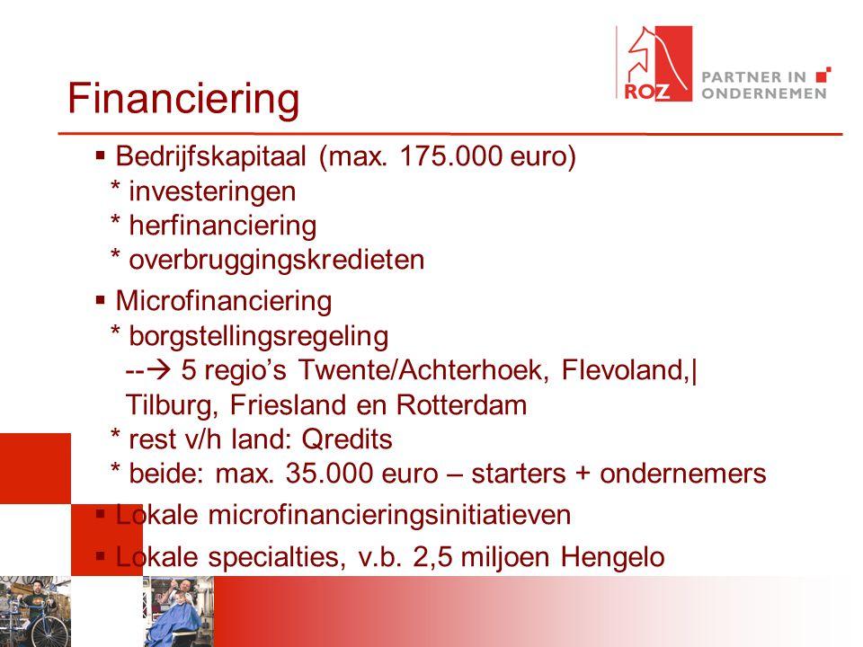 Financiering  Bedrijfskapitaal (max. 175.000 euro) * investeringen * herfinanciering * overbruggingskredieten  Microfinanciering * borgstellingsrege
