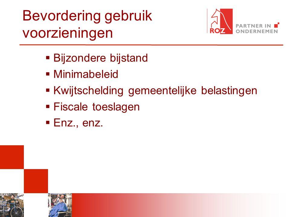 Bevordering gebruik voorzieningen  Bijzondere bijstand  Minimabeleid  Kwijtschelding gemeentelijke belastingen  Fiscale toeslagen  Enz., enz.