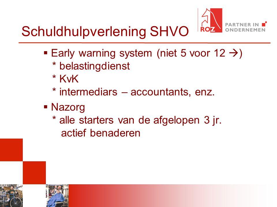 Schuldhulpverlening SHVO  Early warning system (niet 5 voor 12  ) * belastingdienst * KvK * intermediars – accountants, enz.  Nazorg * alle starter